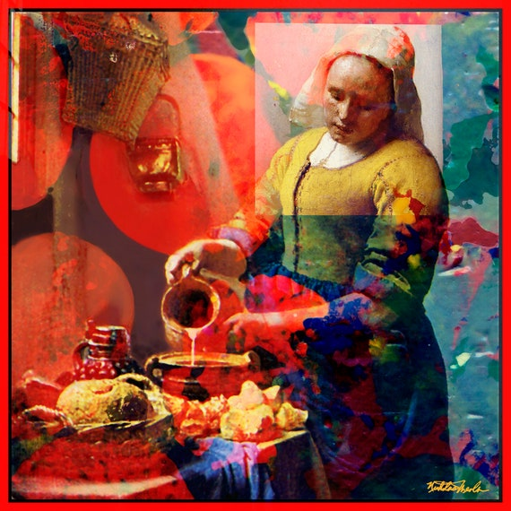 Kitchen Maid - Vermeer - Original Abstract Art by Nicholas Meola