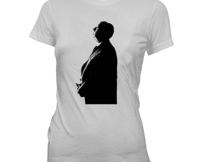Alfred Hitchcock Silhouette - Women's 100% cotton Pre-shrunk, hand screened T-Shirt