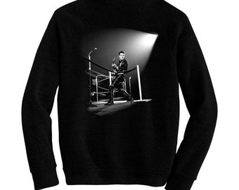 """Edward Ray """"Eddie"""" Cochran Live - Pre-shrunk, hand silk screened ultra soft 80/20 black cotton/poly blend sweatshirt - Rockabilly"""