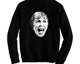 Screaming Janet Leigh - Psycho - Alfred Hitchcock - Pre-shrunk, hand silk screened ultra soft 80/20 black cotton/poly blend sweatshirt