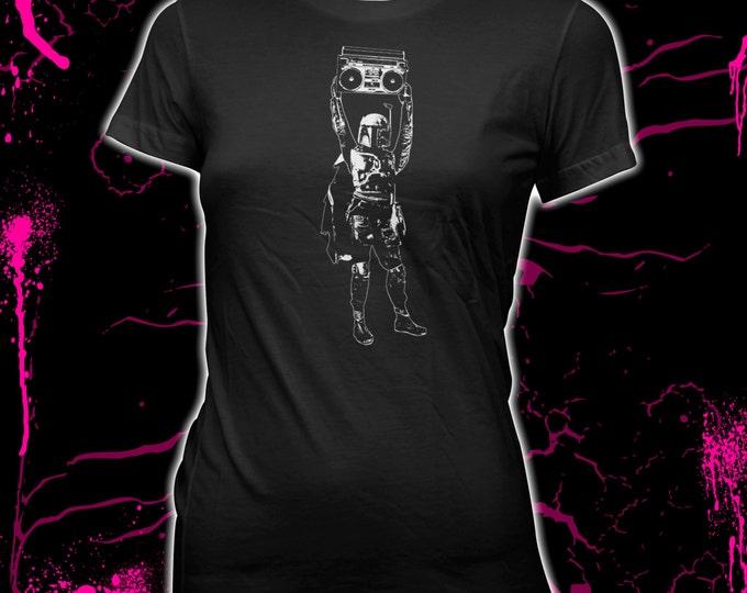 Boba Fett / Say Anything Mandalorian mashup - Star Wars - Hand screened, Women's 100% cotton t-shirt