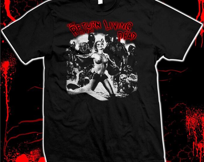 Return Of The Living Dead - Linnea Quigley Grave Illustration - Hand Screened 100% cotton Tee-Shirt