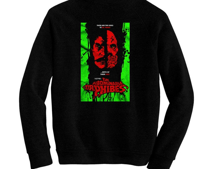 Abominable Dr. Phibes, The - Pre-shrunk, hand screened ultra soft 80/20 cotton/poly sweatshirt - Vincent Price