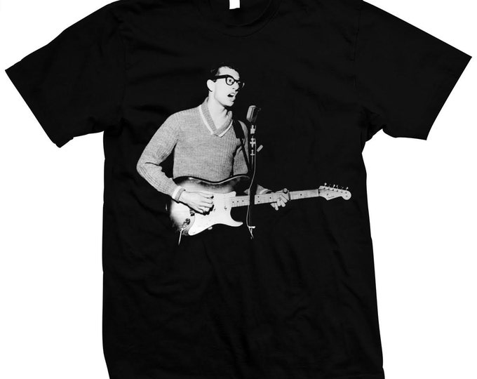 """Charles Hardin Holley - """"Buddy Holly"""" Hand screened, pre-shrunk 100% cotton t-shirt"""