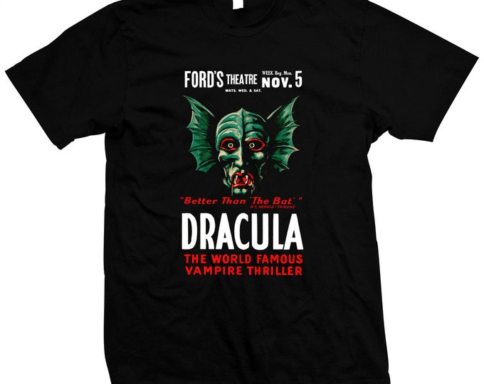 Dracula - The World Famous Vampire - Hand Screened, Pre-shrunk 100% cotton t-shirt
