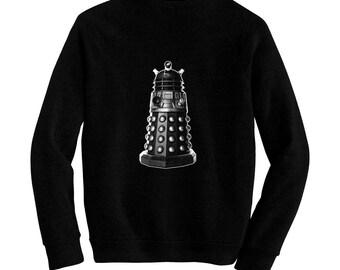 Dalek - Dr. Who - British Time Traveling Sc-Fi - Pre-shrunk, hand silk screened ultra soft 80/20 black cotton/poly blend sweatshirt