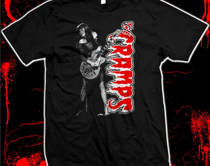 Cramps, The - Poison Ivy Red and White Pre-shrunk, hand screened 100% Cotton Tee Shirt