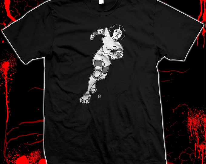 Princess Leia Roller Derby Jammer - Hand Screened, Pre-shrunk 100% cotton t-shirt