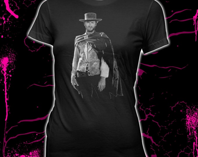 Clint Eastwood - The Man with No Name - Women's Hand Screened, Pre-Shrunk, 100% Cotton T-Shirt