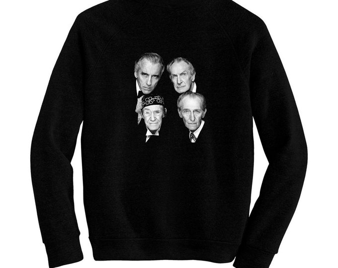 Horror Stars - Pre-shrunk, hand screened ultra soft 80/20 cotton/poly sweatshirt - Peter Cushing, Christopher Lee, Vincent Price