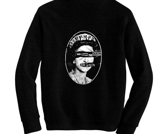The Sex Pistols - God Save The Queen - Pre-shrunk, hand silk screened ultra soft 80/20 black cotton/poly blend sweatshirt