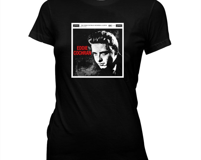 Eddie Cochran Album - Women's Hand screened, Pre-shrunk 100% cotton soft t-shirt