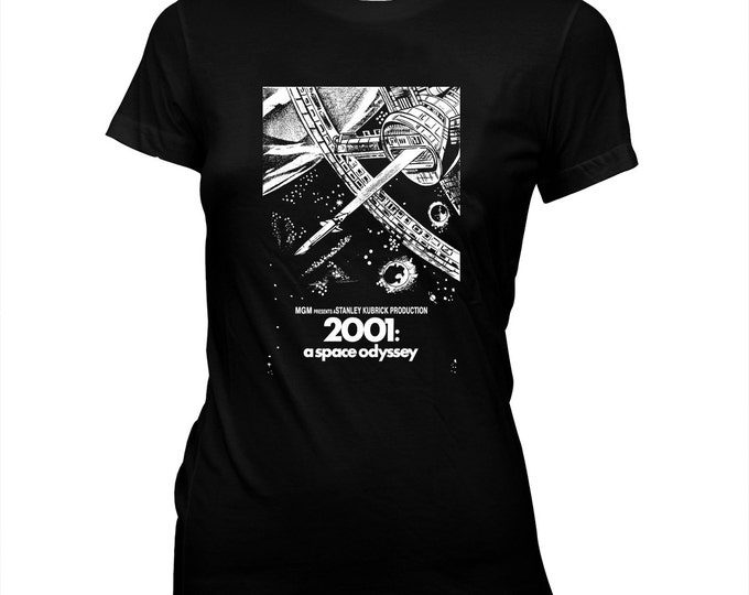 2001: A Space Odyssey - Movie Poster - Stanley Kubrick - Women's Pre-shrunk, hand screened 100% Cotton T-Shirt