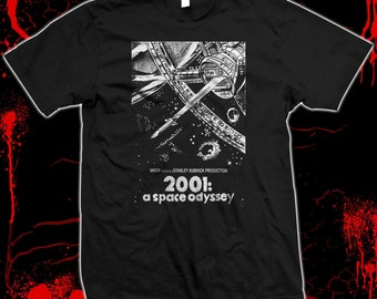 38968e81a 2001: A Space Odyssey - Movie Poster - hand silk screened 100% cotton t- shirt