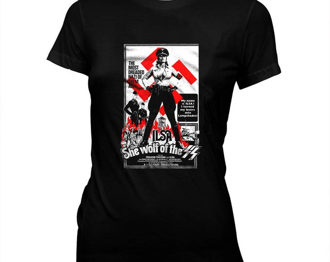 Ilsa, She Wolf of the SS - Canadian Nazisploitation - Women's 100% cotton Pre-shrunk, hand screened T-Shirt