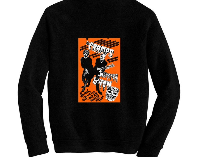 Cramps, The - Rock 'n' Roll Monster Bash Halloween Flyer - Pre-shrunk hand silk screened ultra soft 80/20 black cotton/poly blend sweatshirt