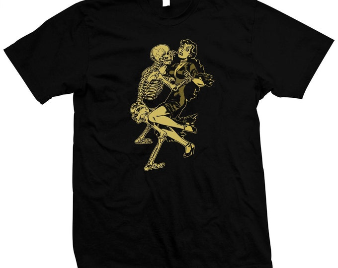 Frisky Skeleton Dance- Hand screened, Pre-shrunk 100% Cotton t-shirt