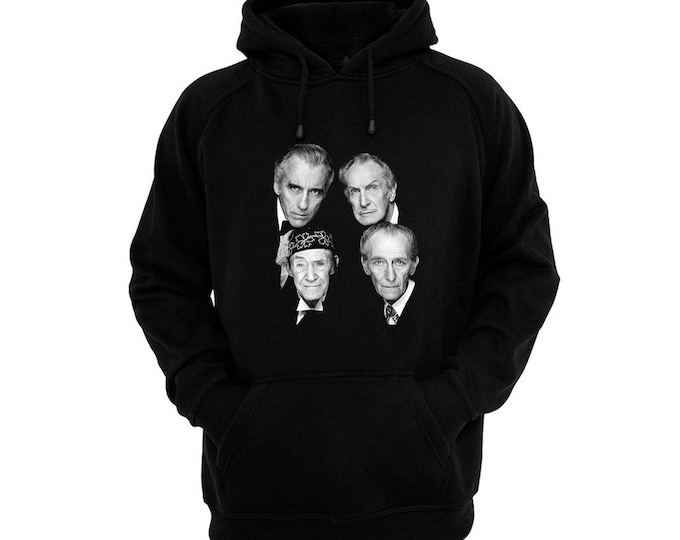 Horror Stars - Peter Cushing, Christopher Lee, Vincent Price, John Carradine - Hand silk-screened, pre-shrunk cotton blend pullover hoodie