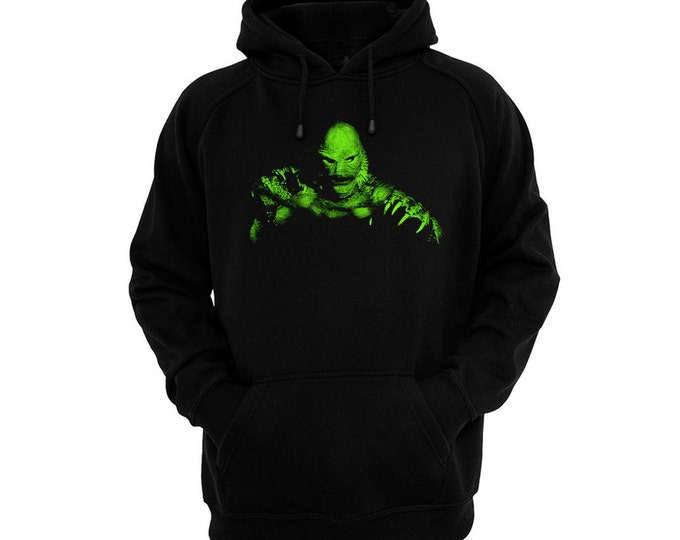 The Creature From The Black Lagoon - Hand silk-screened, pre-shrunk cotton blend pullover hoodie