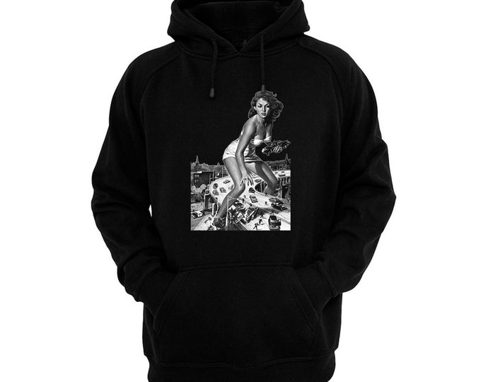 Attack of the 50 Foot Woman - Allison Hayes - Hand silk-screened, pre-shrunk cotton blend pullover hoodie