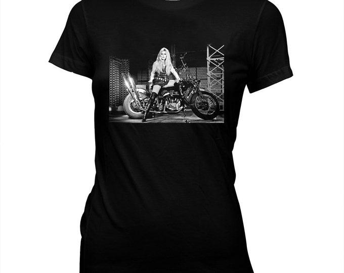 Brigitte Bardot on a Harley - Hand screened, Pre-shrunk, Women's 100% Cotton T-Shirt