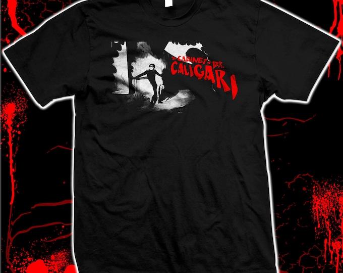 Cabinet of Dr. Caligari, silent Conrad Veidt horror Expressionism - hand made silk screened 100% cotton tee shirt