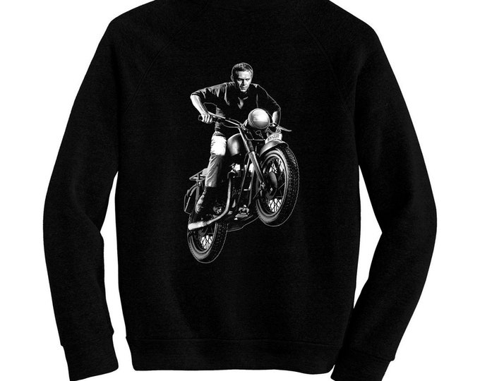 The Great Escape - Pre-shrunk, hand screened ultra soft 80/20 cotton/poly sweatshirt - Steve McQueen