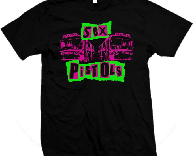 Sex Pistols - Sid Vicious - Johnny Rotten - Pretty Vacant 1977 Punk - Hand screened, Pre-shrunk 100% cotton t-shirt