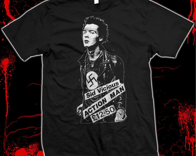 """Sid Vicious """"Action Man"""" Sex Pistols - Hand-screened, Pre-shrunk 100% cotton t-shirt Great Rock n Roll Swindle"""