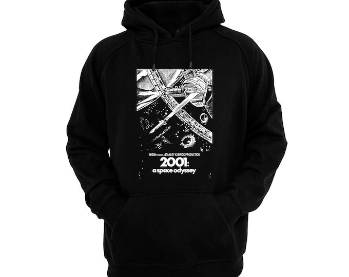 2001: A Space Odyssey Movie Poster - Hand silk-screened, pre-shrunk cotton blend pullover hoodie