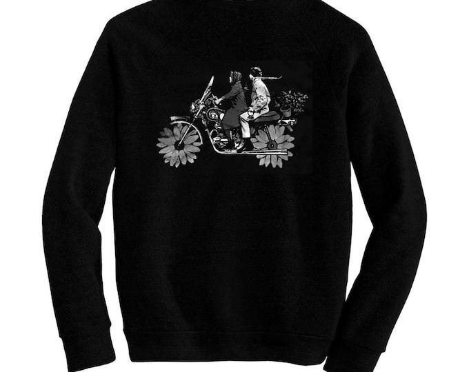 Harold and Maude - Pre-shrunk, hand silk screened ultra soft 80/20 black cotton/poly blend sweatshirt - Bud Cort