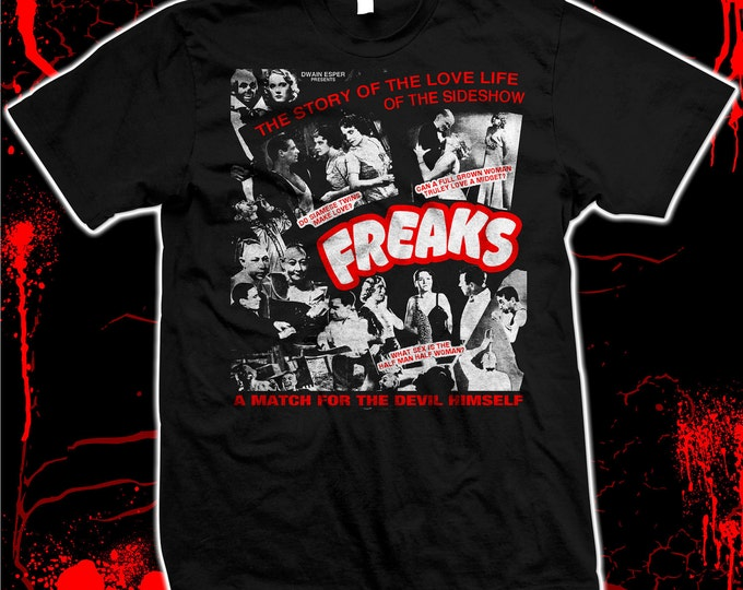 Freaks - Tod Browning - Johnny Eck - Pre-shrunk, hand screened 100% cotton t-shirt