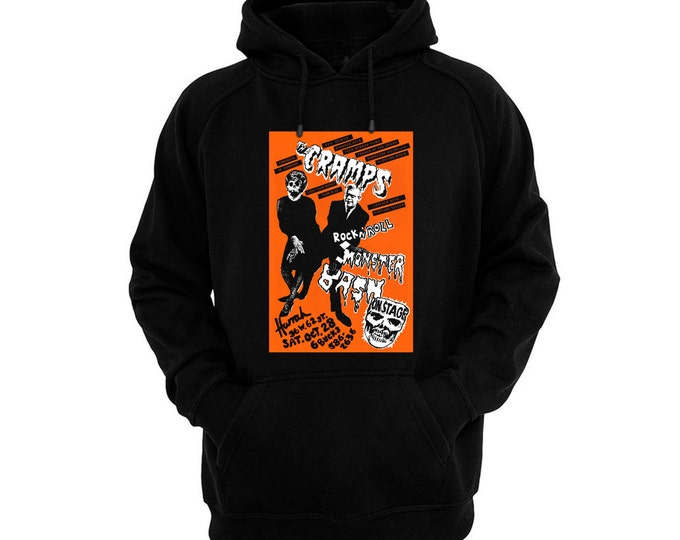 Cramps, The - Rock 'n' Roll Monster Bash Halloween Flyer - Hand silk-screened, pre-shrunk cotton blend pullover hoodie