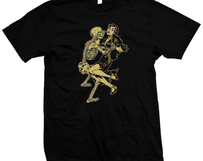 Frisky Skeleton Dance- Hand screened, Pre-shrunk 100% Cotton t-shirt