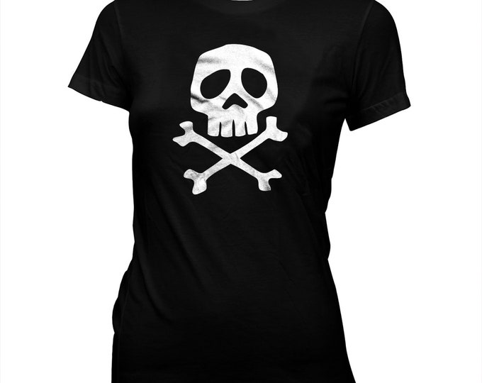 Captain Harlock Skull & Crossbones - Women's Hand Silk-screened, Pre-shrunk 100% Cotton T-Shirt