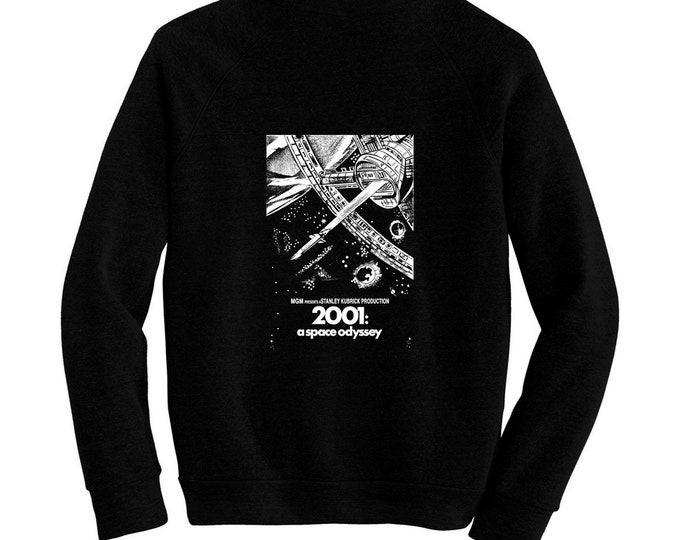 2001: A Space Odyssey - Movie Poster- Pre-shrunk, hand silk screened ultra soft 80/20 black cotton/poly blend sweatshirt