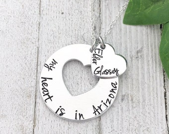 5b25c84ec69 Personalized - My Heart is in - With Name and Location- Missionary Necklace  - Hand Stamped For LDS Missionaries