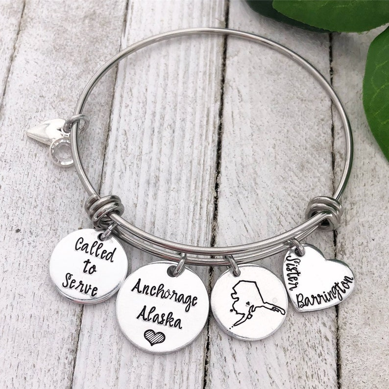 ALL 50 STATES Called to Serve Hand Stamped Missionary Bangle Bracelet