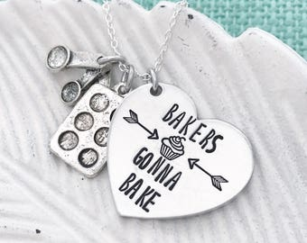 "Hand Stamped ""Bakers Gonna Bake"" with Measuring Spoons and Cupcake Tin Charms - Metal Necklace by Eight9Designs"