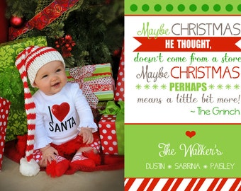 the grinch quote christmas card printable digital family photo card file dr seuss lime green and red holiday cute picture 5x7 printed - Quotes From How The Grinch Stole Christmas