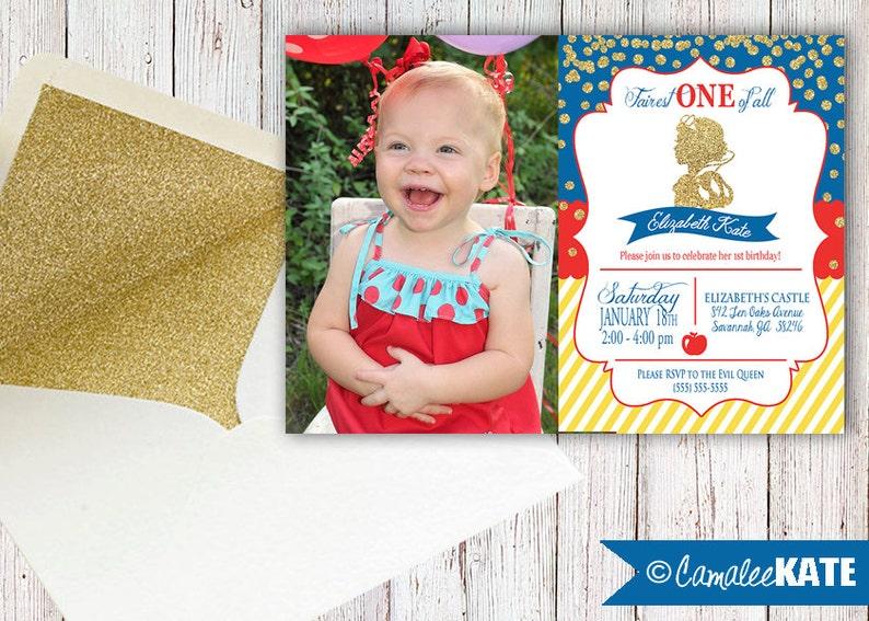 Fairest ONE of All - Snow White 1st Birthday invitation file - Gold  Glitter b499ad214