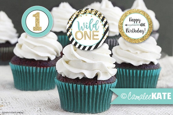 Wild One Arrow / Printable Birthday Party Cupcake Toppers or Favor Tags - Black, White, Teal Blue, Gold Glitter / 2 inch / INSTANT DOWNLOAD