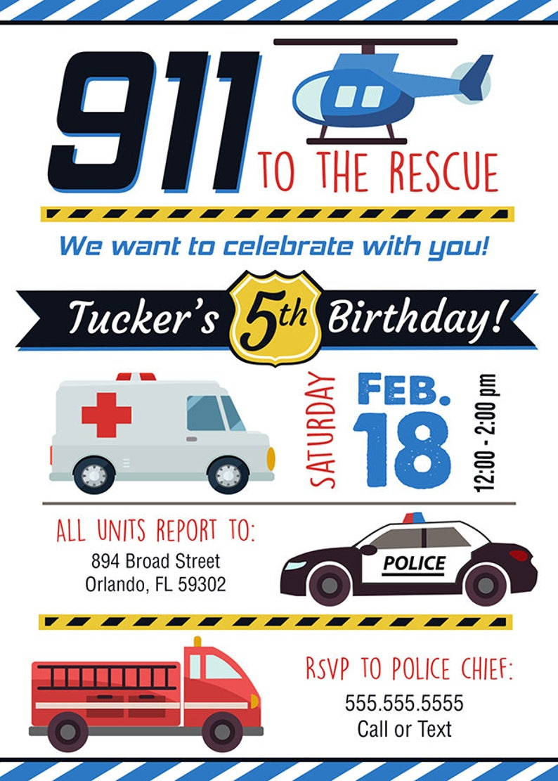 911 Rescue 1st Responder Birthday Invitations Boy Party Police Car Fire  Truck Ambulance Helicopter boys photo printable digital file blue