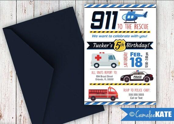 911 rescue 1st responder birthday invitations boy party police etsy