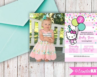 Hello Kitty - Pink and Gold Glitter Printable Birthday Party Invitations - Personalized for you with or without photo - digital file 5x7