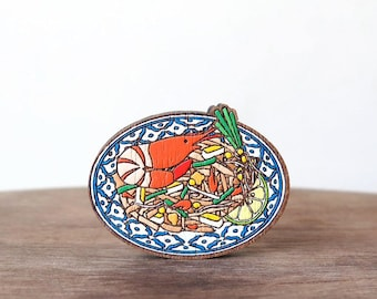 Wooden Brooch Thai Food ~ Pad Thai