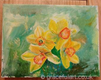 Original Acrylic Painting of Daffodils, box canvas ready to hang.