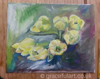 Original Acrylic Tulips Painting on board