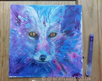 Original Acrylic Arctic Fox Painting on Canvas Board