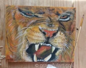 Original Acrylic Lion Painting, box canvas ready to hang